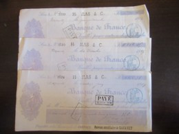 France - 3 Chèques De La Banque De France 1887 / 1889 - Payables Au Bureau Auxiliaire De Mazamet - Chèques & Chèques De Voyage