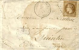 """1872- Env. Carte De Visite De Guadeloupe Affr. 30 C - Au Dos,""""correspondance Des Armées / Le C.nt Du Détachement - Marcophilie (Lettres)"""