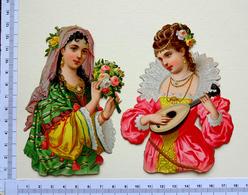 2 CHROMOS    DECOUPIS.....GAUFRES....BUSTES DE FEMMES ...COSTUME HISTORIQUE...MANDOLINE ..VOILE ...DENTELLE - Découpis