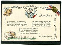 CPA - A Mon Filleul - Santé, Bravoure, Gaité - Carte Avec Ruban Tricolore Et Petite Médaille Vive La France Collés - Guerre 1914-18