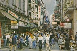 HONG KONG STREET SCENE POSTALY USED POSTCARD W STAMP - Cina (Hong Kong)