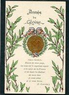 CPA Double - Année De Gloire - Calendrier 1917 Avec Médaille Collée - Guerre 1914-18