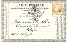 1875- Carte Précurseur Affr. N° 55 D' ORAN  Oblit. G C 5051 - Marcophilie (Lettres)