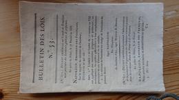 Bulletin Des Lois 53   Prairial An XIII 1805   46 Pages - Decrees & Laws