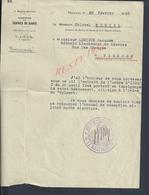 MILITARIA DOCUMENT MILITAIRE 5e Rg SERVICE DE SANTÉ MÉDECIN COLONEL MONTEL 45 À Mr LEBIGUE VIERZON ORLEANS TAMPON - 1939-45