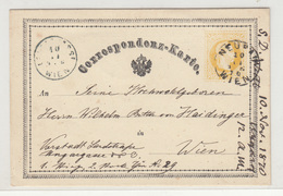 Austria Empire Postal Stationery Postcard Correspondenz-Karte Travelled 1870 B190220 - Interi Postali