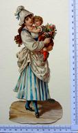 CHROMO    DECOUPI......GRAND FORMAT.... H : 21 Cm......MAMAN AVEC SON ENFANT ET UN BOUQUET DE FLEURS - Découpis