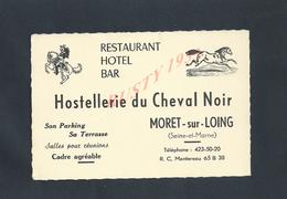 CDV CARTE DE VISITE ILLUSTRÉE HOSTELLERIE DU CHEVAL NOIR HOTEL MORET SUR LOING : 77 : - Cartes De Visite