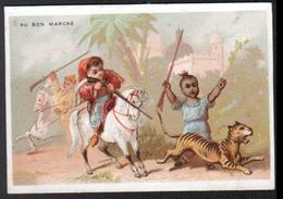 Chromo Au Bon Marche, 1876, TM 11, 111x75mm, Garcons En Costumes Orientaux, Maroc, Chasse Aux Fauves - Au Bon Marché
