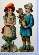 2 CHROMOS    DECOUPIS.. .GAUFRES......GRAND FORMAT.... H : 24 Cm....ENFANTS JARDINIERS - Enfants