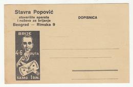 Stavra Popović Beograd Company Advertising Postcard Unused B190220 - 1931-1941 Royaume De Yougoslavie