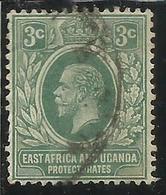 EAST AFRICA ORIENTALE & UGANDA PROTECTORATES 1912 1918 KING EDWARD VII RE EDOARDO CENT. 3c USATO USED OBLITERE' - Protectorados De África Oriental Y Uganda