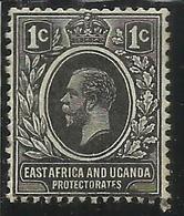 EAST AFRICA ORIENTALE & UGANDA PROTECTORATES 1912 1918 KING EDWARD VII RE EDOARDO CENT. 1c USATO USED OBLITERE' - Kenya, Uganda & Tanganyika