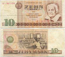 DDR 1971, 10 Mark, Staatsbank Der DDR, C. Zetkin, KN 6stellig, Geldschein, Banknote - 1949-1990: DDR