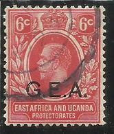 EAST AFRICA ORIENTALE & UGANDA PROTECTORATES 1917 GEA G.E.A. KING EDWARD VII RE EDOARDO CENT. 6c USATO USED OBLITERE' - Kenya, Uganda & Tanganyika