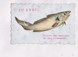CPA , FANTAISIE POISSON D AVRIL AVEC DECOUPI COLLE - 1er Avril - Poisson D'avril