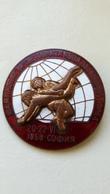 Enamel Pin Badge World Wrestling Championship Sofia Bulgaria 1958 FILA World Cup - Wrestling