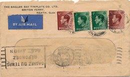 Lettre Par Avion Neath Glam Pour Bordeaux - 1902-1951 (Rois)