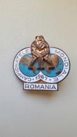Enamel Pin Badge World Wrestling Championship Romania 1967 FILA World Cup - Wrestling