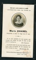 SOUVENIR MORTUAIRE  - DE MARIE CHANEL (À 47 Ans) - Obituary Notices