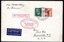A5886) DR Brief Katapultflug Schleuderflug Seepost Dampfer Bremen 25.09.29 N. USA - Deutschland