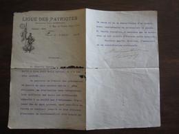 LETTRE SIGNEE ALBERT GAUTHIER DE CLAGNY VICE PRESIDENT DE LA LIGUE DES PATRIOTES DU 6 AVRIL 1915 - Autographes