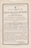 Doodsprentje Joannes Fransiscus De Paepe °1818 Kanegem †1893 Tielt Echtg. Juliana Van Pamel -Baptista-Everaert (B84) - Décès