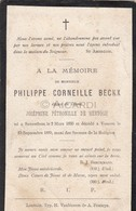 Doodsprentje Philippe Corneille Beckx °1830 Zaventem †1880 Vossem Echtg. Joséphine De Hertogh (B85) - Décès