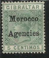 MAROC MAROCCO MOROCCO AGENCIES 1898 QUEEN VICTORIA REGINA GIBRALTAR OVERPRINTED GIBILTERRA CENT. 5 MLH - Uffici In Marocco / Tangeri (…-1958)