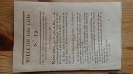 Bulletin Des Lois 59 Vendemiaire An XIV 1806   4 Pages - Decrees & Laws