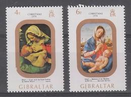 PAIRE NEUVE DE GIBRALTAR - TABLEAUX REPRESENTANT LA VIERGE ET L'ENFANT (NOËL 1974) N° Y&T 312/313 - Madones