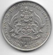 *st Lucia 4 Dollars 1970  Km 1 Unc - Caraibi Orientali (Stati Dei)