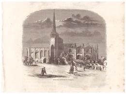 1844 - Gravure Sur Bois - Tréguier (Côtes-d'Armor) - L'ancienne Cathédrale - FRANCO DE PORT - Prints & Engravings