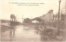 Dépt 44 - NANTES - Inondations (1904) - Le Quai De La Fosse Et La Gare De La Bourse - Phototypie Vassellier Nantes N.136 - Nantes