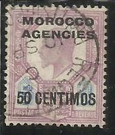 MAROC MAROCCO MOROCCO AGENCIES 1907 1910 KING EDWARD RE EDOARDO CENT. 50c On 5p USATO USED OBLIT - Uffici In Marocco / Tangeri (…-1958)