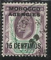 MAROC MAROCCO MOROCCO AGENCIES 1907 1910 KING EDWARD RE EDOARDO CENT. 15c On 1 1/2p USATO USED OBLIT - Uffici In Marocco / Tangeri (…-1958)