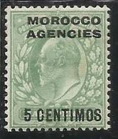 MAROC MAROCCO MOROCCO AGENCIES 1907 1910 KING EDWARD RE EDOARDO CENT. 5c On 1/2p MLH - Uffici In Marocco / Tangeri (…-1958)