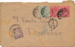 Lettre Londres Pour Bordeaux Timbre Taxe 50c - 1902-1951 (Rois)