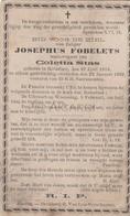 Doodsprentje Josephus Fobelets °1818 Rotselaar †1899 Echtg. Coletta Stas  (B87) - Obituary Notices