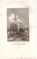 1844 - Gravure Sur Acier - Niort (Deux-Sèvres) - L'église Notre-Dame - FRANCO DE PORT - Prints & Engravings