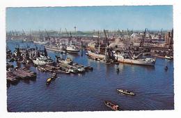 Rotterdam Vue Sur Le Port En 1962 Bateaux Cargo Péniches - Rotterdam