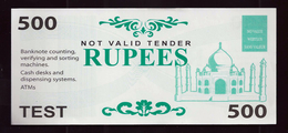 "ATM Test Note ""GLUCK INT"" 500 Rupees, Testnote, RRR, UNC - - Indien"