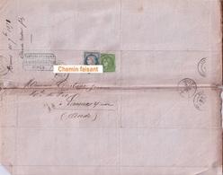 Marques Postales  Nîmes 30  Carcassonne Limoux 11 - Le 10/07/1871 CLAUDE REDIER Lits & Meubles En Fer - 1849-1876: Période Classique
