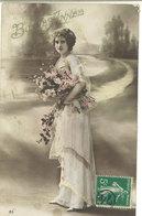 Femme Et Fleurs - Bonne Année - Cachet Postal Spécial 74 Dans Un Cercle (111663) - Femmes