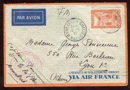 Maroc - Enveloppe En FM Par Avion De Marrakech Pour Lyon En 1937 - Prix Fixe - Réf F34 - Briefe U. Dokumente