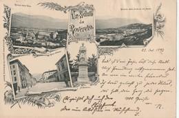UN SALUTO DA ROVERETO VEDUTINE D'EPOCA ANNO 1897!!! VIAGGIATA CARTOL- GIOVANNINI - Trento