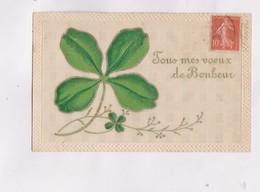 CPA , FANTAISIE  EN RELIEF (gauffree)  , TREFLES VOEUX DE BONHEUR En 1907! - Fêtes - Voeux