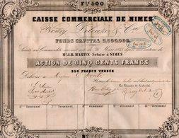 VP14.595 - 1847 - Action De La Caisse Commerciale De NIMES - Mrs NOURY , DELEUZE & Cie - Actions & Titres
