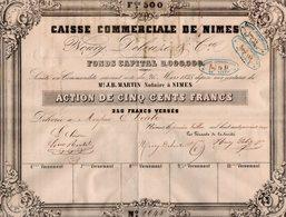VP14.596 - 1847 - Action De La Caisse Commerciale De NIMES - Mrs NOURY , DELEUZE & Cie - Actions & Titres
