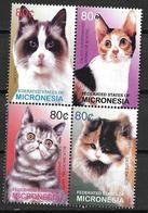 Micronésie 2003 N° 1277/1280 En Bloc Avec Chats - Chats Domestiques